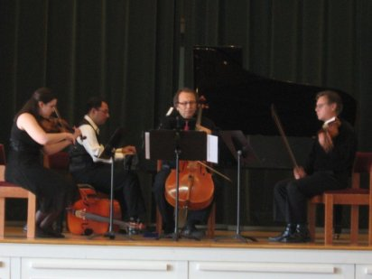 Schumann Piano Quartet, from left to right: Terri, Peter Allen, Shimon Walt, and Philippe Djokic